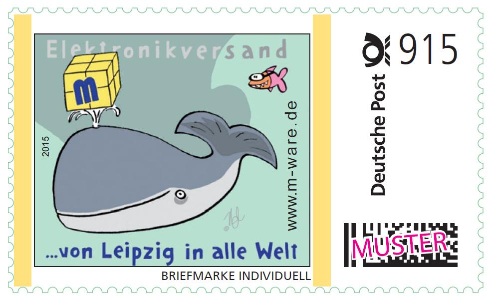 2 Cartoon-Briefmarken Walfisch á 915ct. Porto, 2015, postfrisch