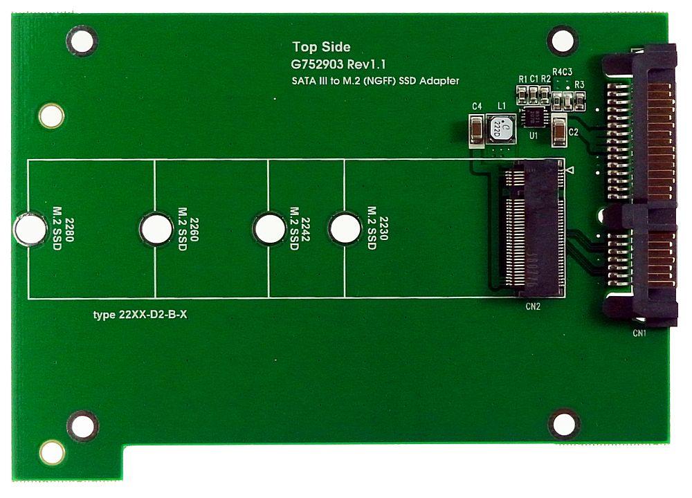 SATA3.0-Adapter mit einer Aufnahme für eine M.2 SSD