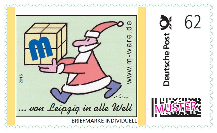 62ct. postage stamp Santa Claus green 2015, series ... from Leipzig into the whole world