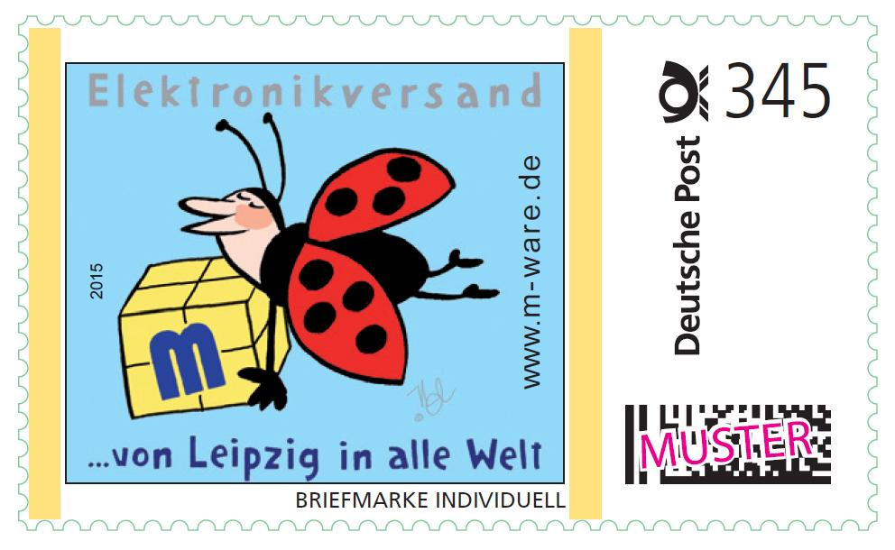 345ct. postage stamp Ladybug flying 2015, series ... from Leipzig into the whole world