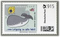 "2 cartoon postage stamps ""Whale"" á 915ct. postage value, 2015, mint #15582"