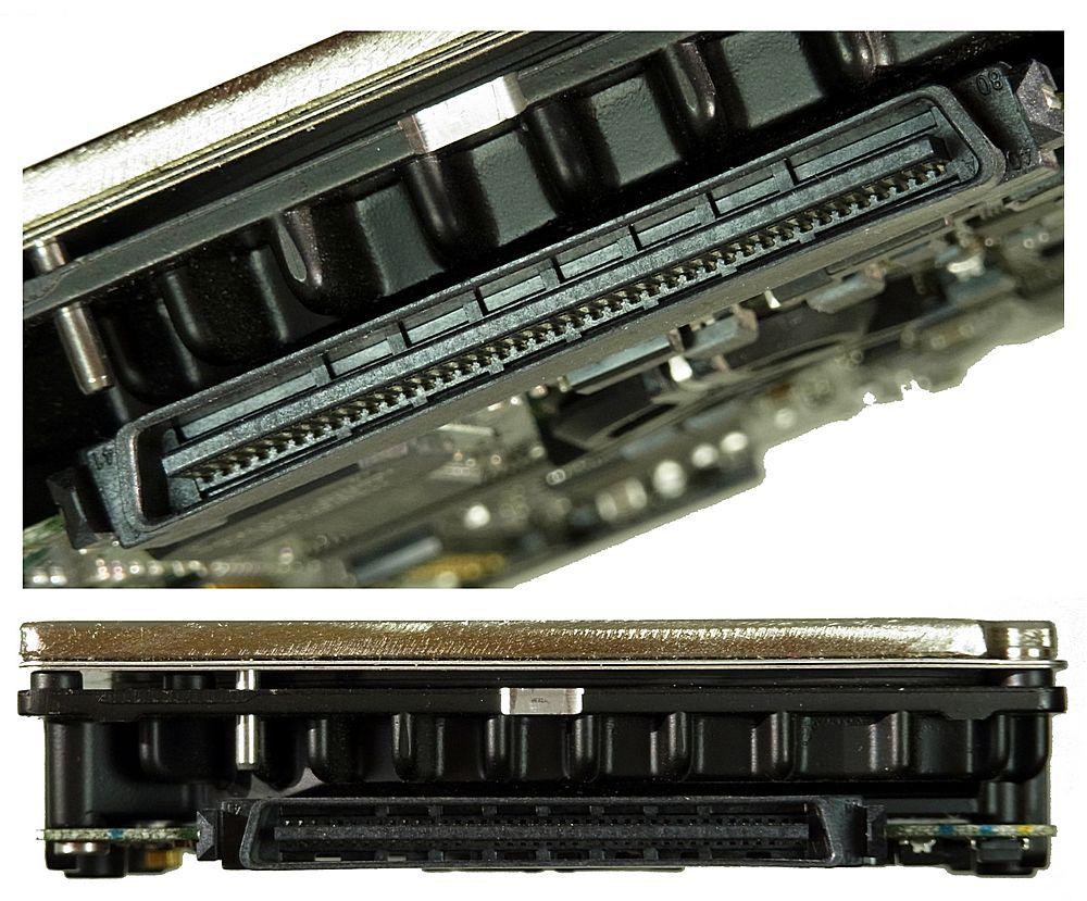 80-poliger SCA-Anschluss an einer Server-Festplatte
