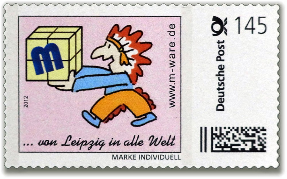 Cartoon-Briefmarke Indianer 2012
