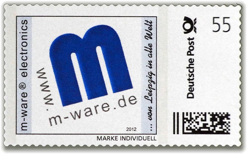 """M-ware Logo Briefmarke """"... von Leipzig in alle Welt"""""""