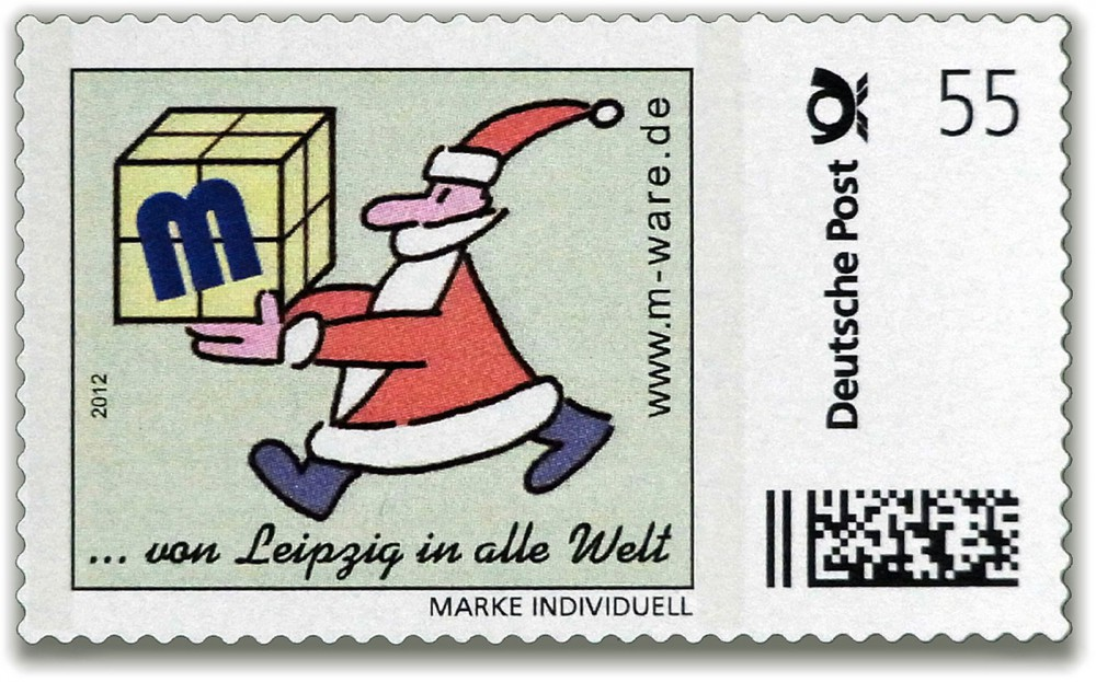 Cartoon-Briefmarke Weihnachtsmann 2012