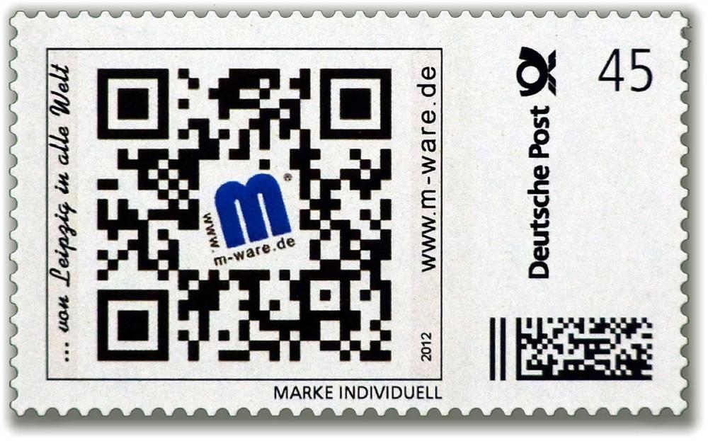 """QR Code Briefmarke""""... von Leipzig in alle Welt"""""""