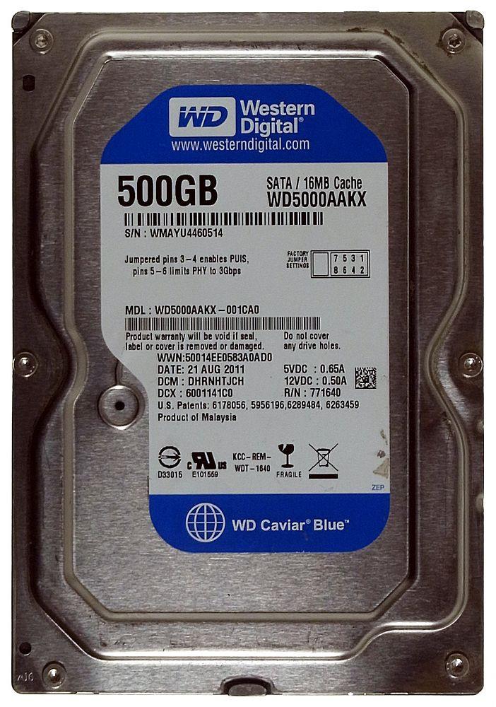 500GB Western Digital Caviar Blue WD5000AAKX SATA3 HDD